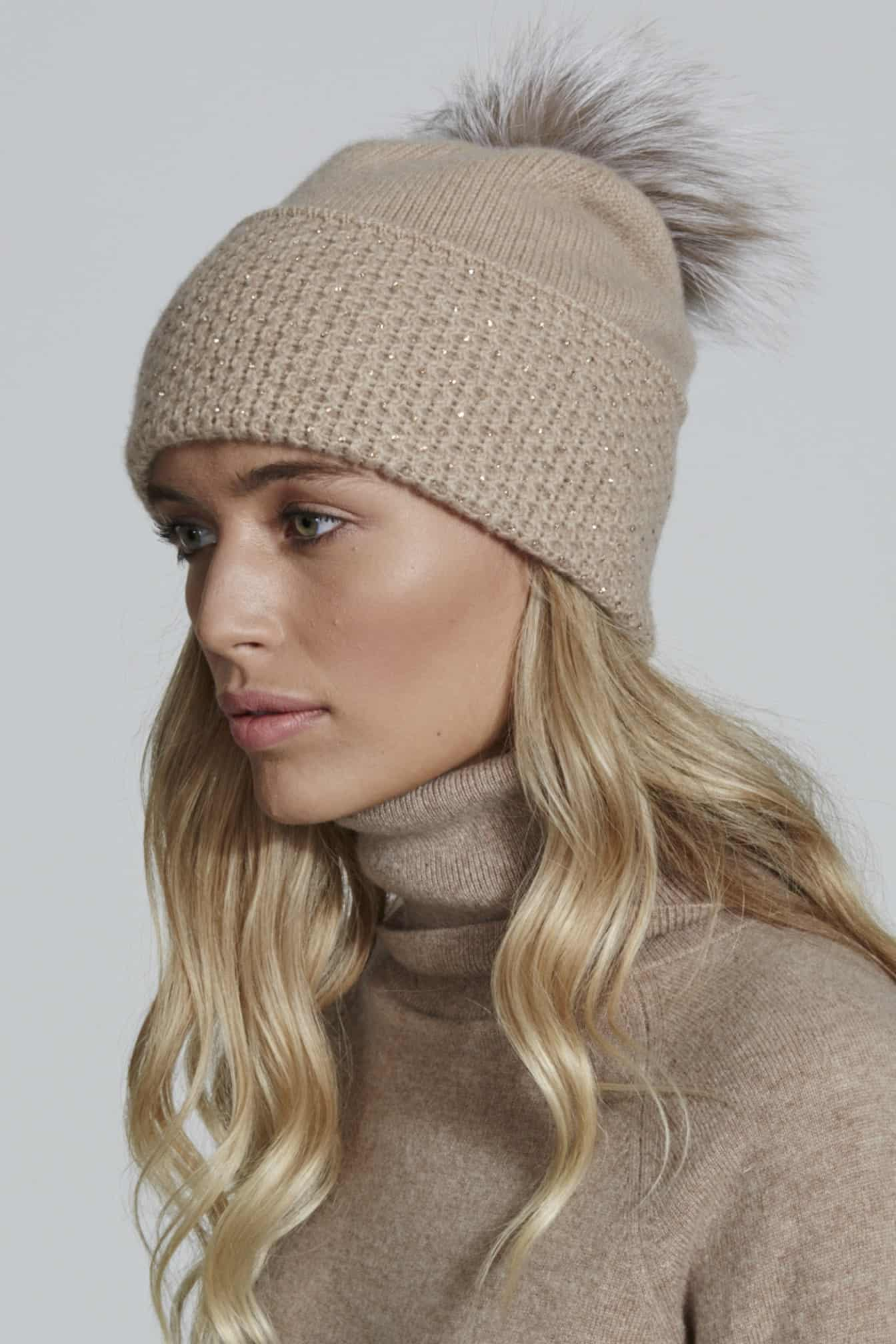 MINI DIAMOND TURN UP HAT WITH SCATTER AND POM - William Sharp af02c5944279