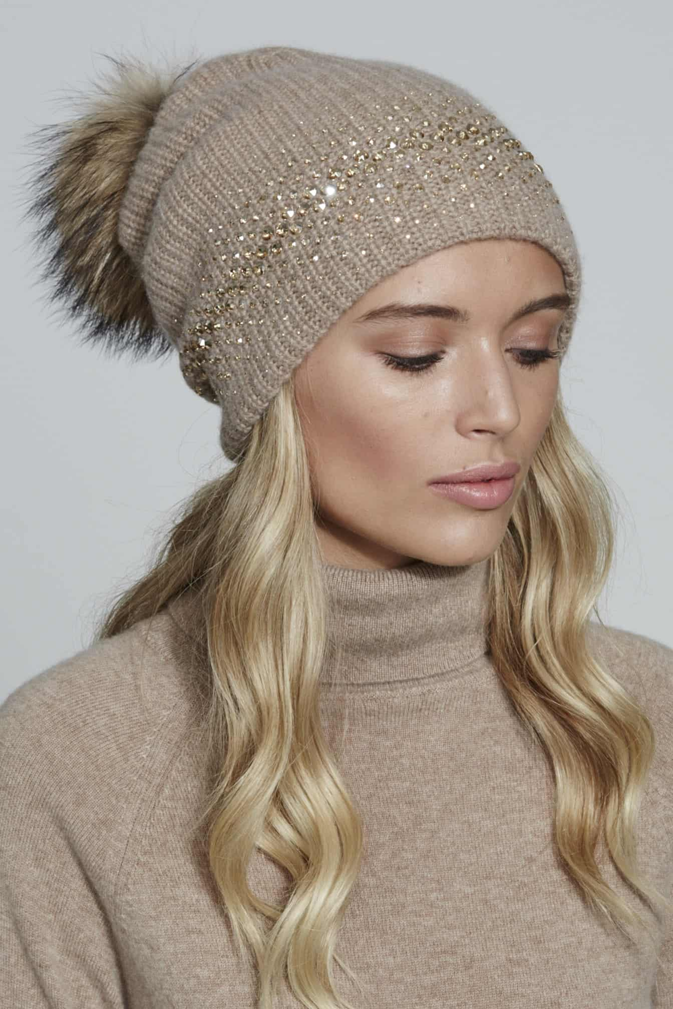 CHUNKY HAT WITH FADE EDGE AND POM- MID BROWN - William Sharp f1b057525b94